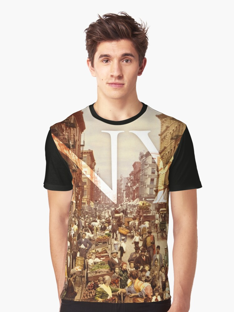 Old School New York Fashion Graphic T-Shirt Front