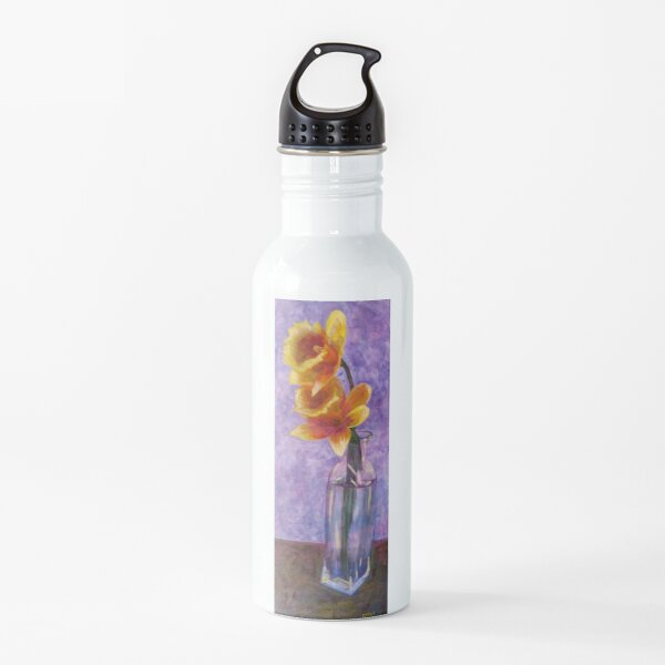 Daffodils in a Glass Vase Water Bottle