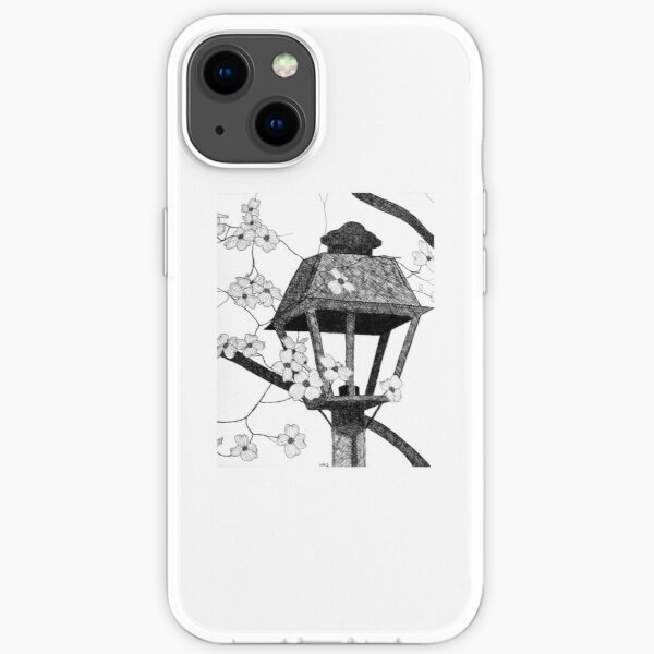 Pen and Ink Drawing of Dogwood and Lamppost iPhone Soft Case