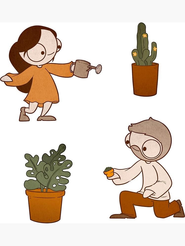 John & Catana With Plants! by catanacomics