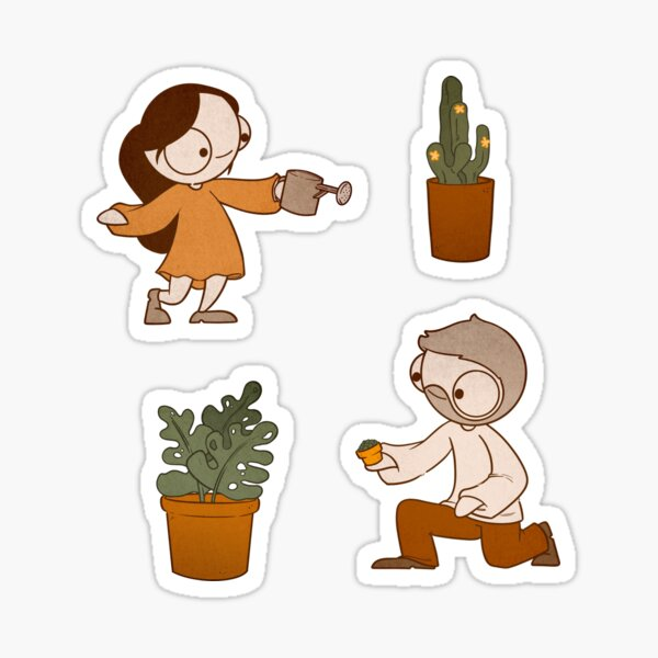 John & Catana With Plants! Sticker
