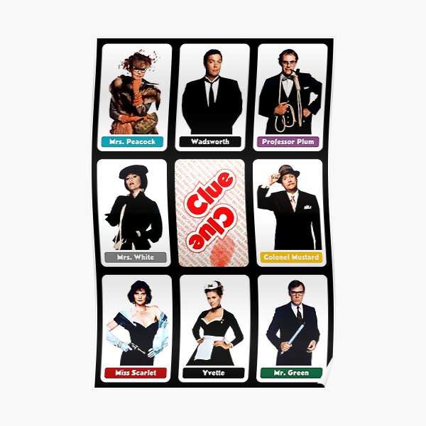 Clue (1985) - Suspect Cards Poster