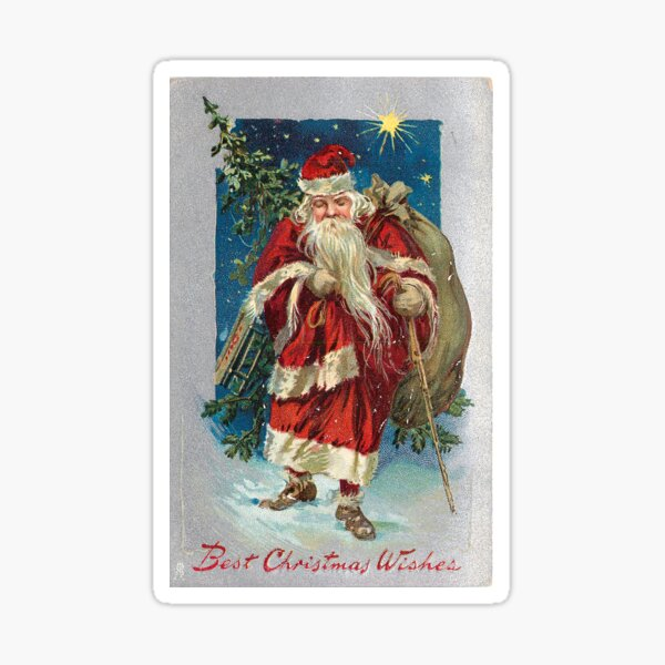 """""""Best Christmas Wishes"""" with Santa Vintage Christmas Postcard  (1908) Sticker"""