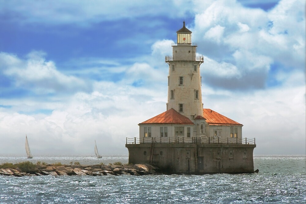 City - Chicago IL - Chicago harbor lighthouse by Michael Savad