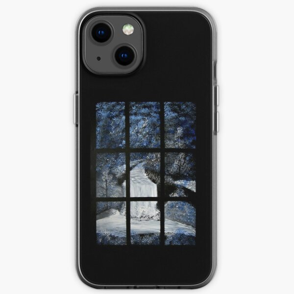 Painting of a Waterfall through a Window iPhone Soft Case