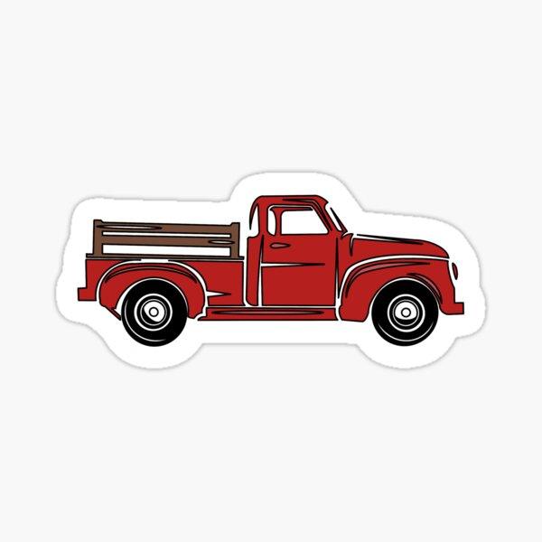Red Farm Truck Sticker