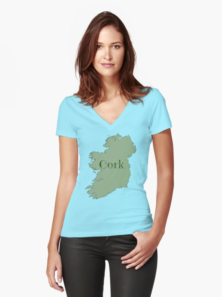 Cork Ireland with Map of Ireland Women's Fitted V-Neck T-Shirt Front