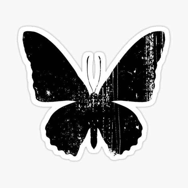 Distressed Butterfly Black Sticker
