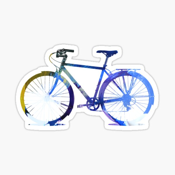 Bicycle Silhouette Blue Graphic Design Sticker