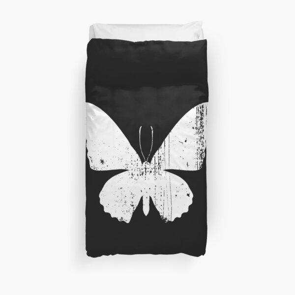 Distressed Butterfly White Duvet Cover