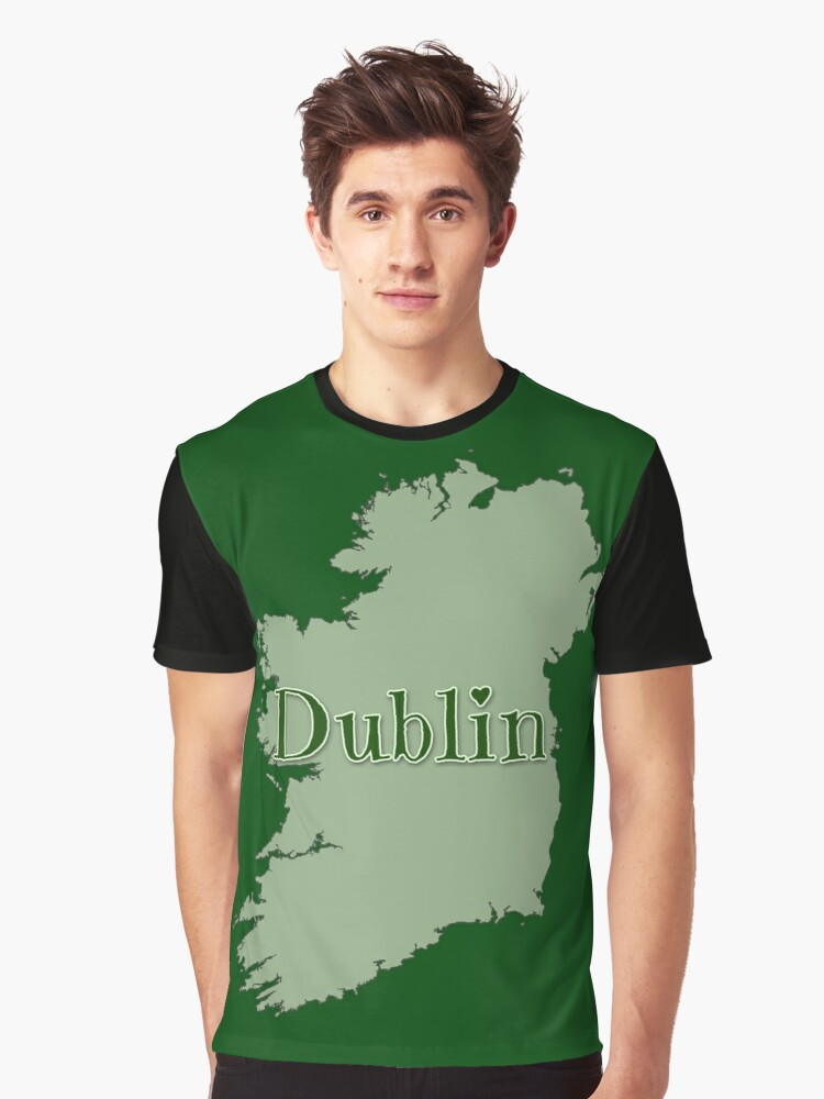 Dublin Ireland with Map of Ireland Graphic T-Shirt Front