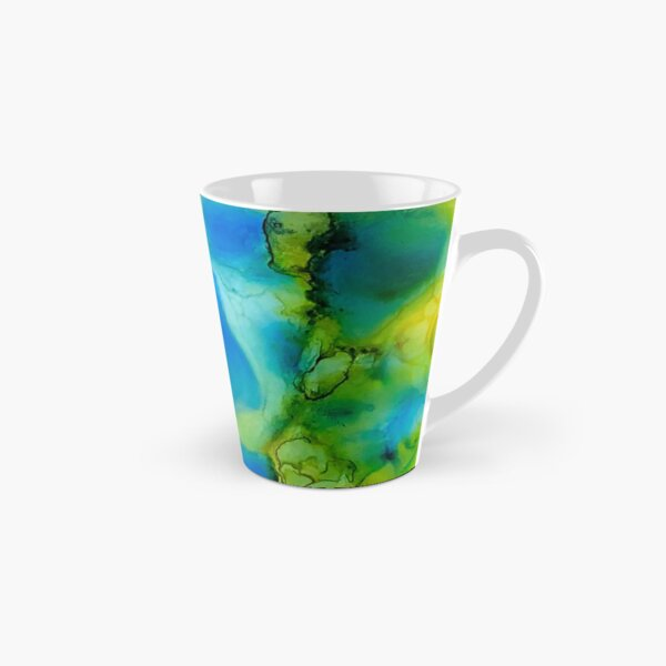 Green and Blue Pools Alcohol Ink Tall Mug