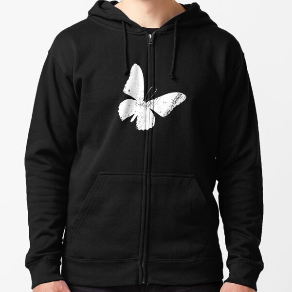 Distressed Butterfly slanted Zipped Hoodie