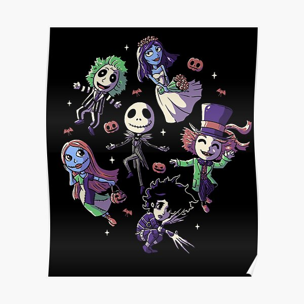 Burtons Halloween Funny Cute Spooky Characters Poster