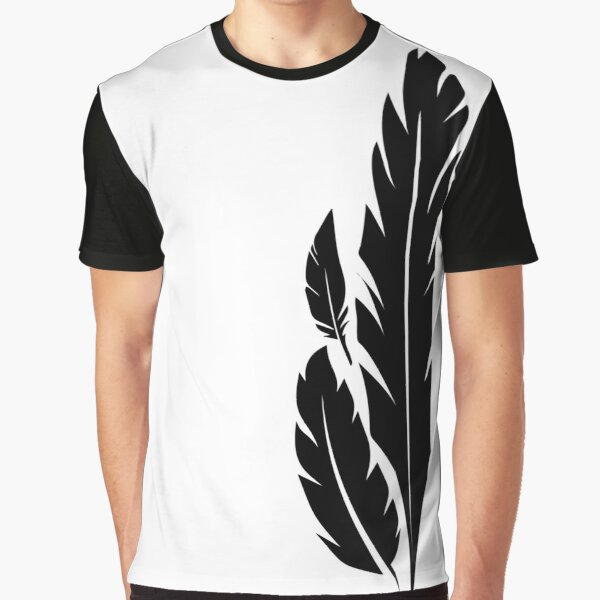 Hawkmoon Black White Feathers Graphic T-Shirt