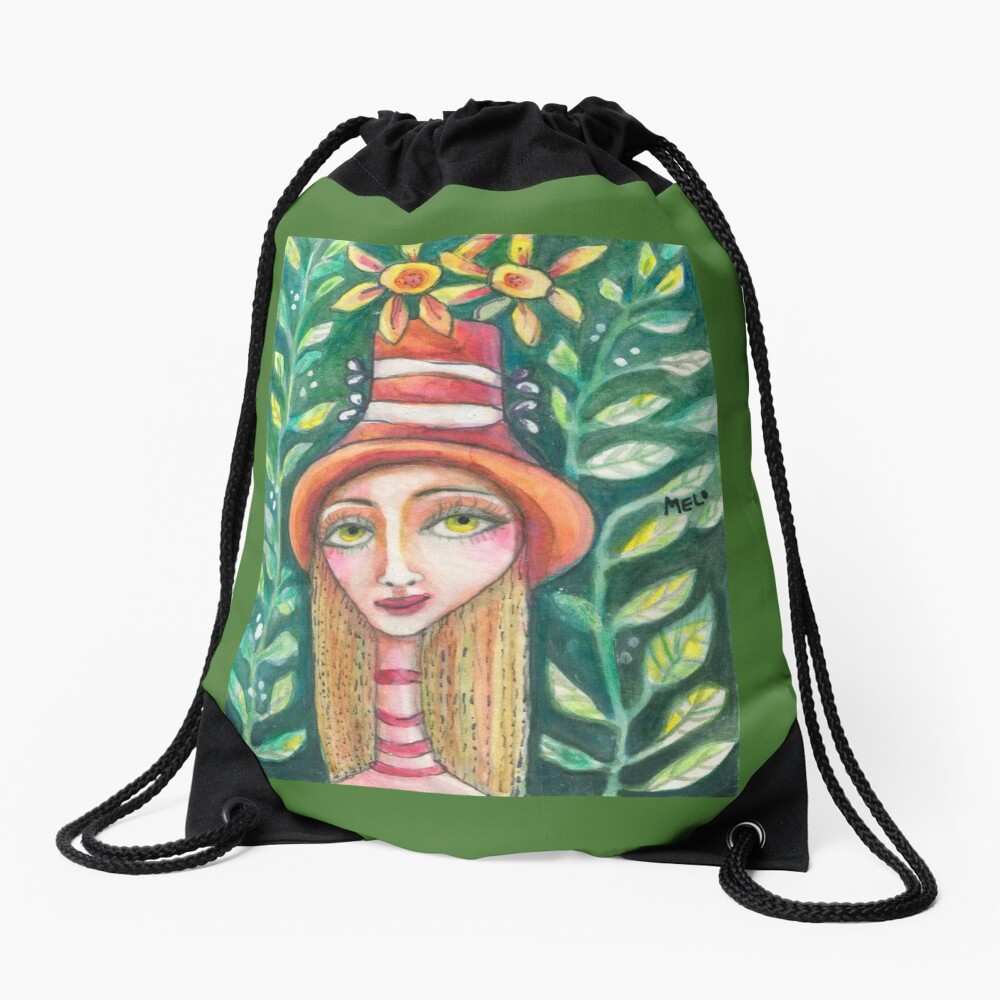 The Fall Girl Drawstring Bag