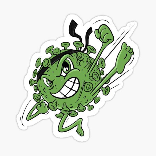 Green Covid Karate WTFBrahh  Sticker