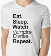 Eat. Sleep. Watch Vampire Diaries. Repeat. Men's V-Neck T-Shirt