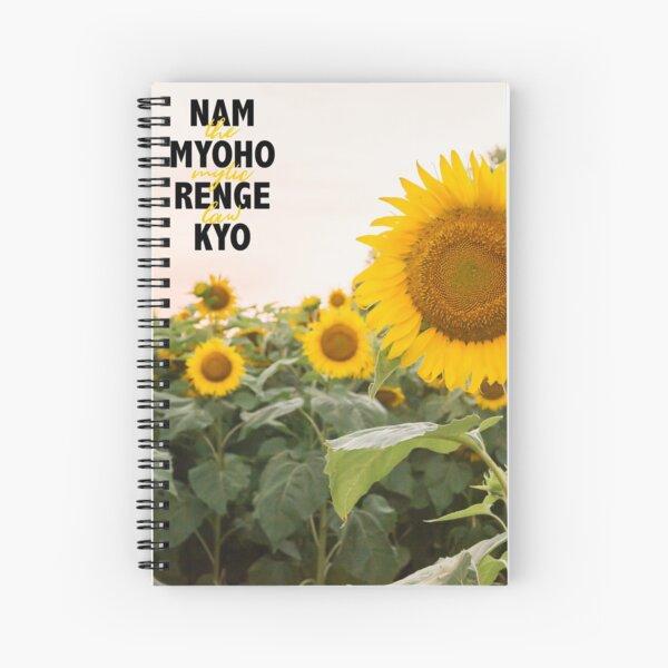 Nam Myoho Renge Kyo Bright Yellow Sunflower Spiral Notebook