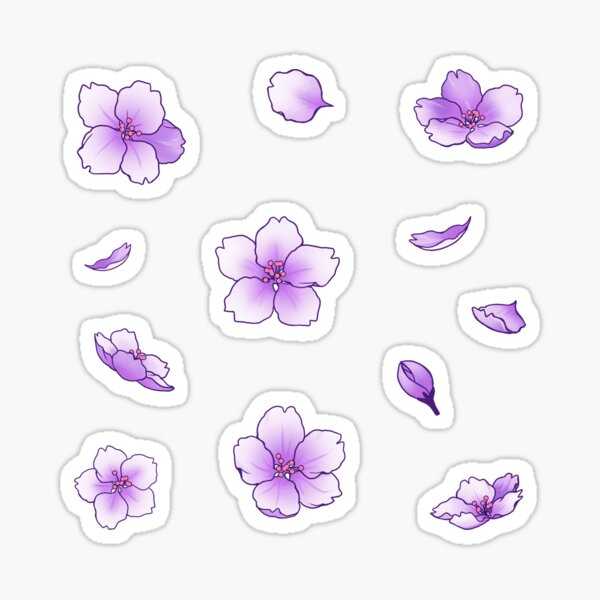 Chute de fleurs de cerisier pourpre Sakura Sticker