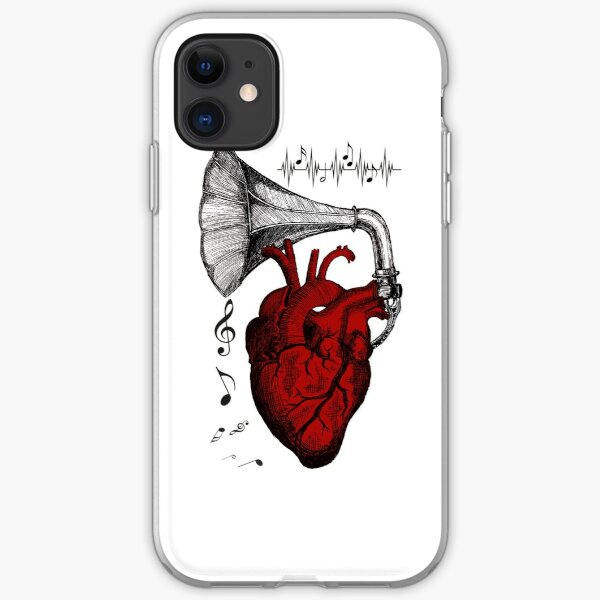 Phonograph Heart. Heart Plays Music. Music of the heart. human heart and a gramophone tube iPhone Soft Case
