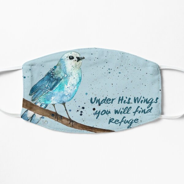 Under His Wings You Will Find Refuge Original Watercolor Art Mask