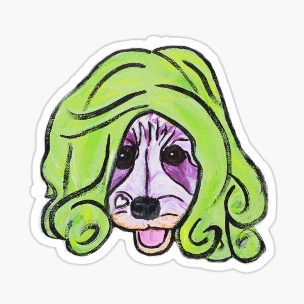 Niño the Schnauzer in Green Wig II Sticker