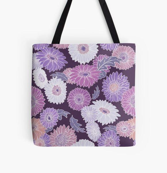 Gerbera Floral Purple All Over Print Tote Bag