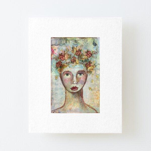 Meet Flora the whimsical Girl Aufgezogener Druck auf Leinwandkarton