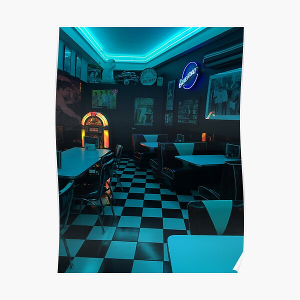Neon Blue 80s Diner Poster