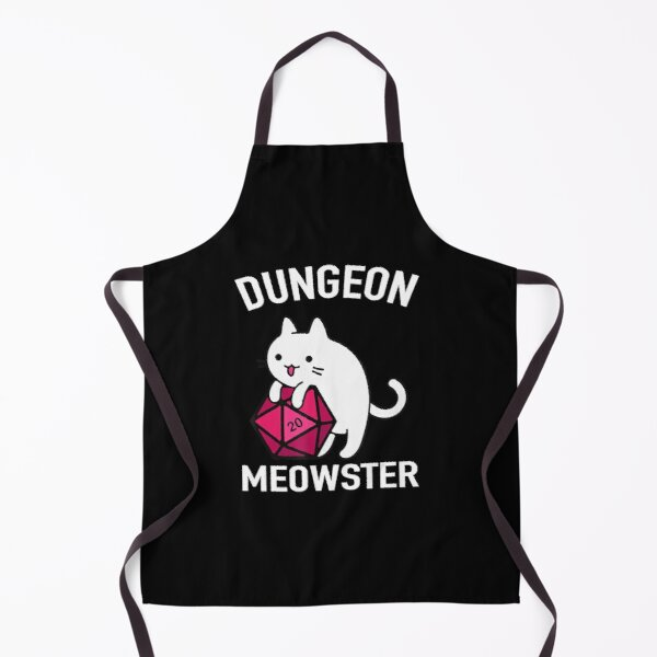 Dungeon Meowster Funny DnD Gamer Cat D20 Apron