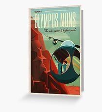 THE VOLCANO OF MARS - Olympus Mons | Space | X | Retro | Vintage | Futurism | Sci-Fi Greeting Card