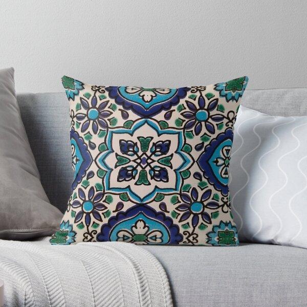Original Tunisian blue mosaic tiles Throw Pillow