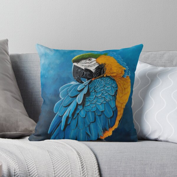 Blue and gold Macaw portrait Throw Pillow