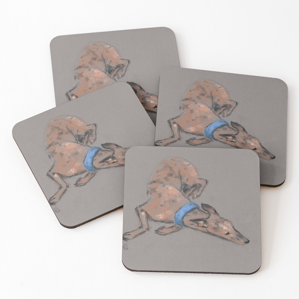 Sighthound in pastel chalk Coasters (Set of 4)