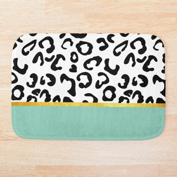 Black and white leopard print on mint, golden lining Bath Mat