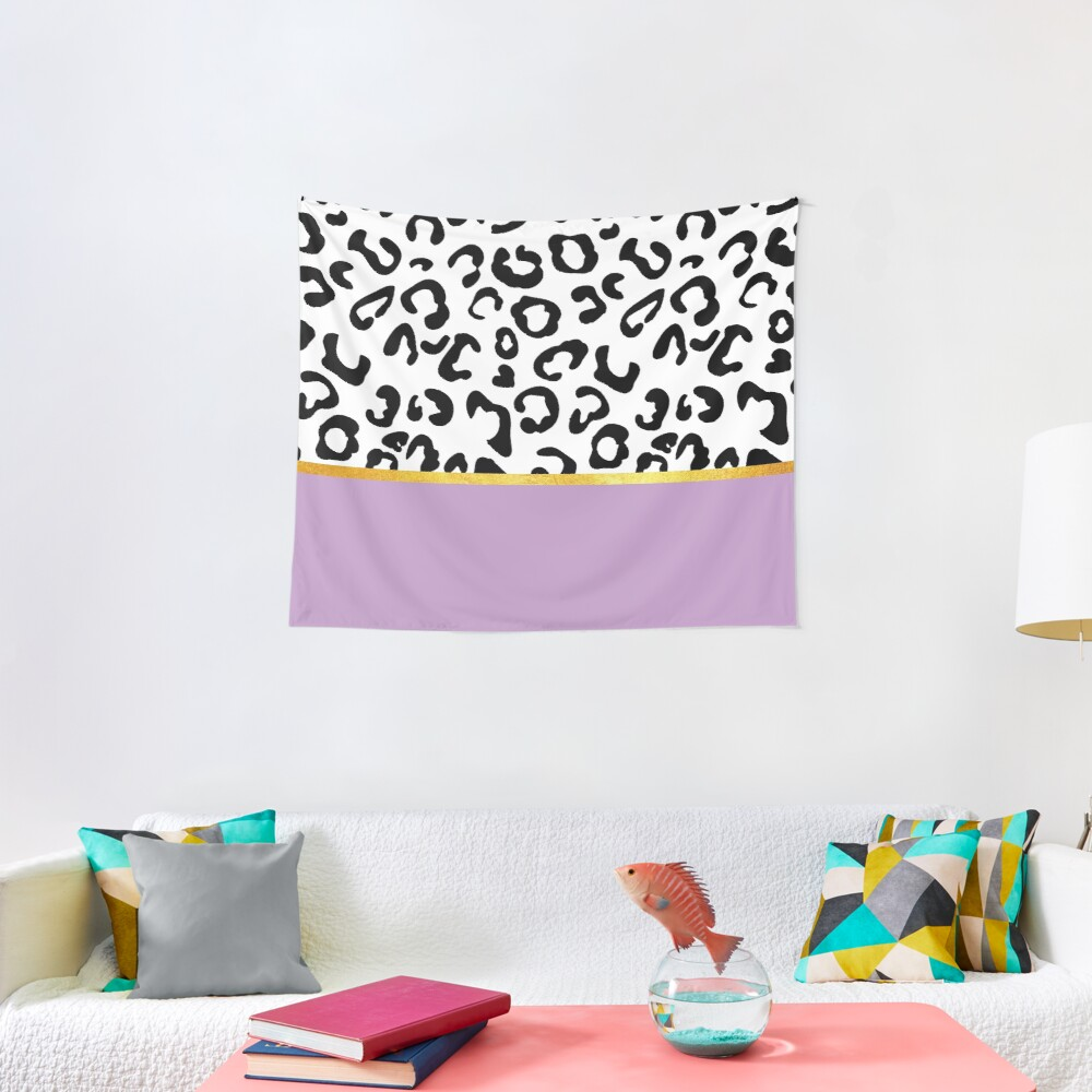 Black and white leopard print on purple, golden lining Tapestry