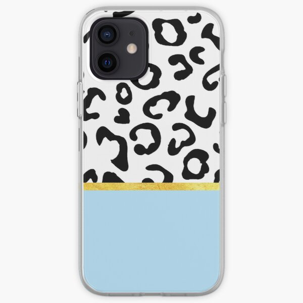 Black and white leopard print on light blue, golden lining iPhone Soft Case