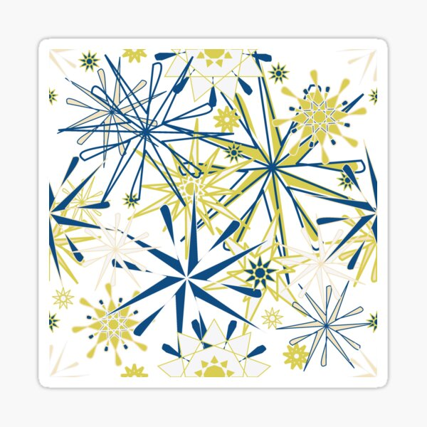 Starlights Gold and Navy on white Sticker