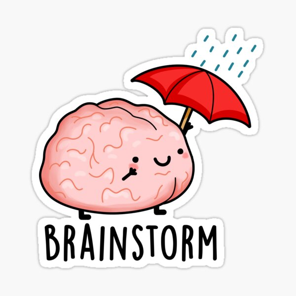 Brain Storm Cute Anatomy Pun Sticker