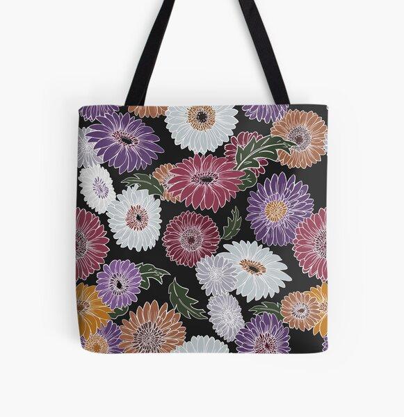 Gerbera Floral Black All Over Print Tote Bag