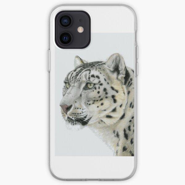 Snow Leopard Portrait (left) iPhone Soft Case