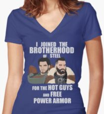 Why I Joined the Brotherhood of Steel Women's Fitted V-Neck T-Shirt