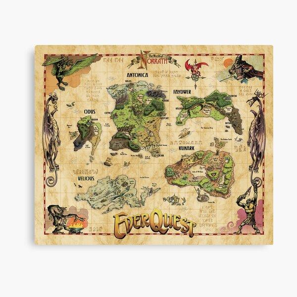 Everquest World of Norrath Karte Leinwanddruck