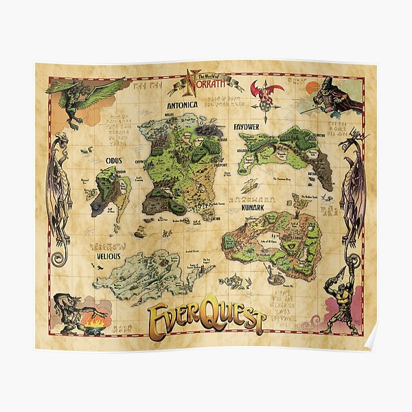 Everquest World of Norrath Map Poster
