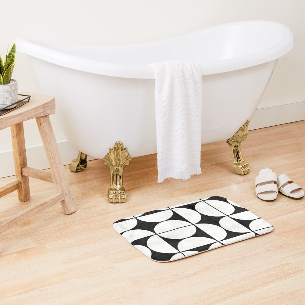 Mid-Century Modern Pattern No.2 - Black and White Concrete Bath Mat