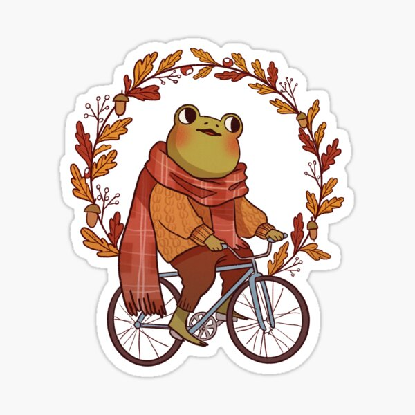 Froggy on a Bycicle Sticker