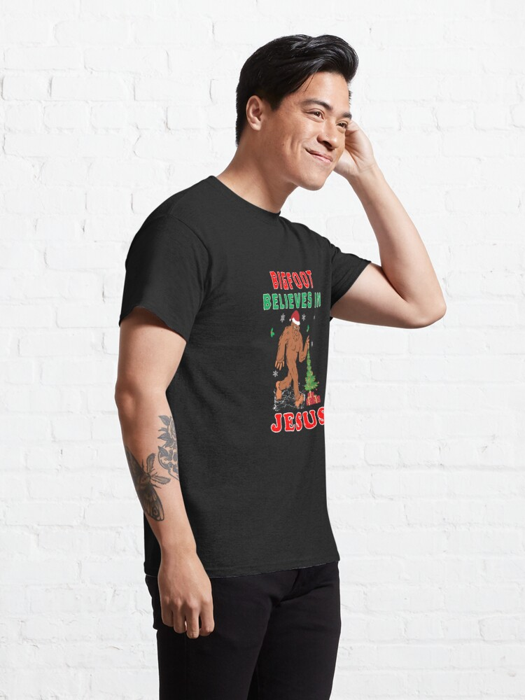 Alternate view of Bigfoot Believes Jesus Wintertime Squatchy Lord. Classic T-Shirt