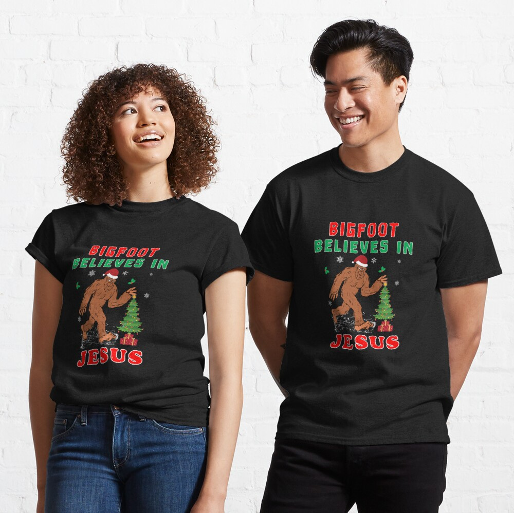 Bigfoot Believes Jesus Wintertime Squatchy Lord. Classic T-Shirt