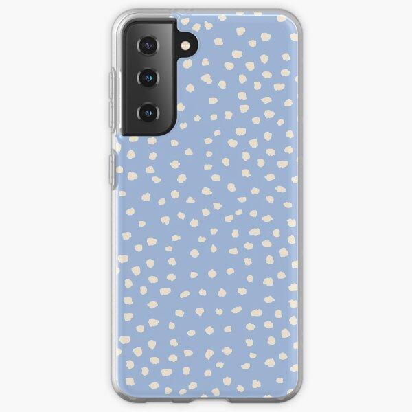 Buttercream Dalmatian Dots on Cerulean Blue Samsung Galaxy Soft Case